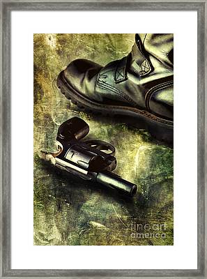 Tank Boots And Handgun Framed Print by HD Connelly