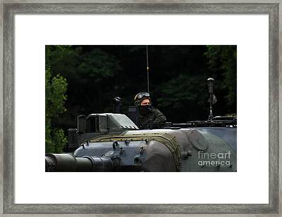 Tank Commander Of A Leopard 1a5 Mbt Framed Print by Luc De Jaeger