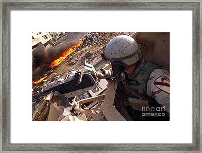 Tank Commander Scans The Trash Covered Framed Print