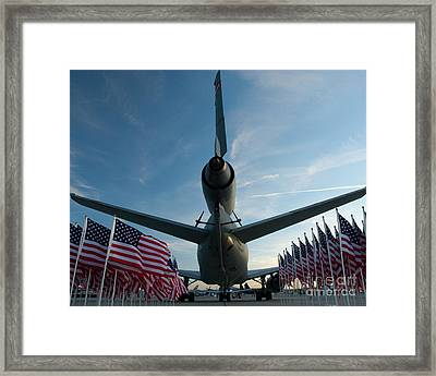 Tanker And Flags Framed Print by Tim Mulina