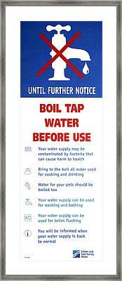 Tap Water Warning Sign Framed Print