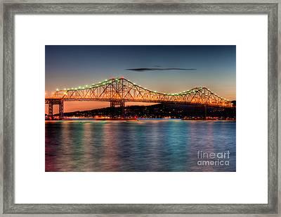 Tappan Zee Bridge Twilight I Framed Print by Clarence Holmes