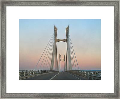 Tarascon-beaucaire Bridge At Dusk Framed Print by Michael Grabois