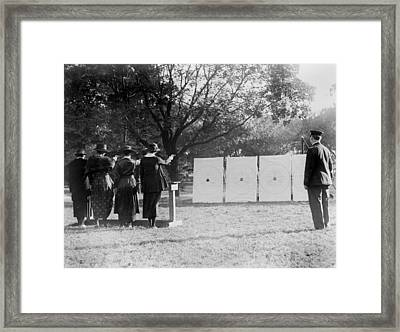 Target Shooting, Four Women Shooting Framed Print by Everett
