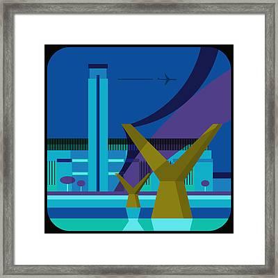 Tate Gallery And Millennium Bridge, London, United Kingdom Framed Print by Nigel Sandor