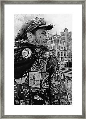 Tattoos And Patches Black And White Framed Print by Kathleen K Parker