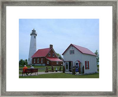 Tawas Point Lighthouse And Store Framed Print
