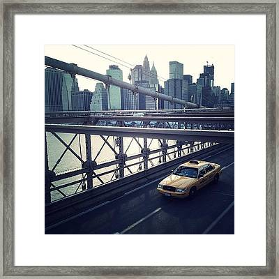 Taxi On Bridge Framed Print