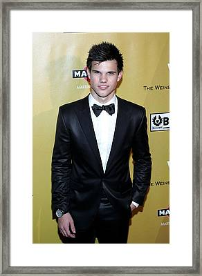 Taylor Lautner At The After-party Framed Print