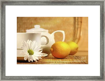 Tea And Lemon Framed Print by Sandra Cunningham
