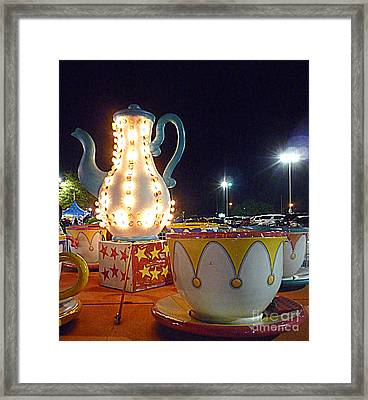 Framed Print featuring the photograph Tea Pot And Cups Ride by Renee Trenholm
