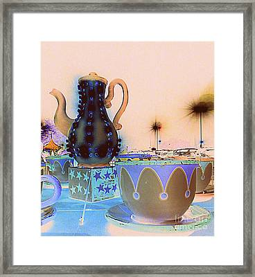 Framed Print featuring the photograph Tea Pot And Cups Ride With Inverted Colors by Renee Trenholm
