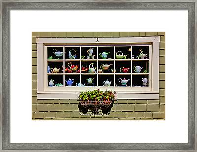 Tea Pots In Window Framed Print by Garry Gay