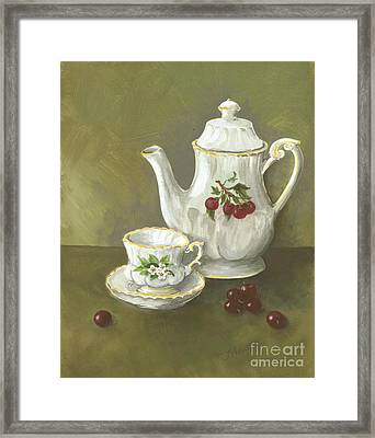 Framed Print featuring the painting Tea With Cherries  by Nancy Patterson