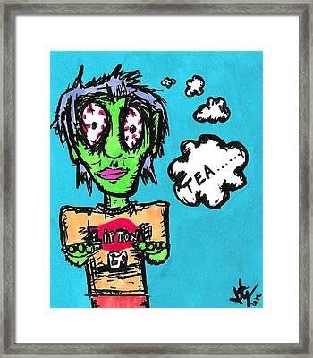 Tea Zombie Framed Print by Jera Sky