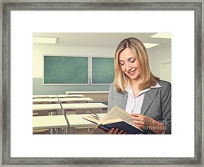 Teacher Portrait Framed Print by Gualtiero Boffi