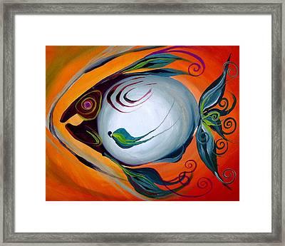 Teal Fish With Orange Framed Print