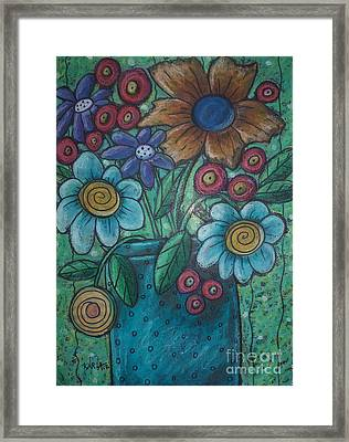 Teal Pot Framed Print