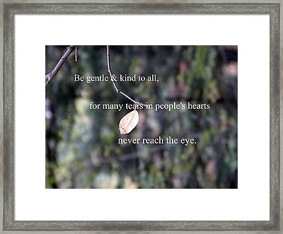 Tears In People's Hearts Framed Print by Michelle Frizzell-Thompson