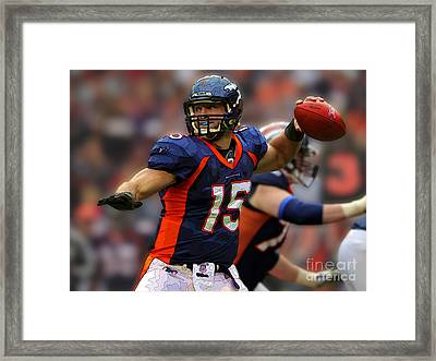 Tebow At Denver Broncos Framed Print by Herb Paynter