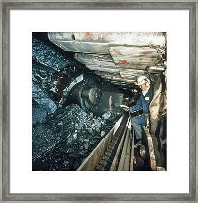 Technician Measures Noise Levels In A Coal Mine Framed Print by Crown Copyrighthealth & Safety Laboratory