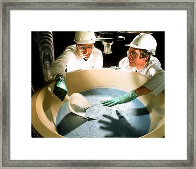 Technician Monitoring Pharmaceutical Production Framed Print by Geoff Tompkinson
