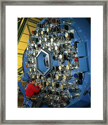 Technician With The Wiyn Telescope's Active Optics Framed Print by David Parker