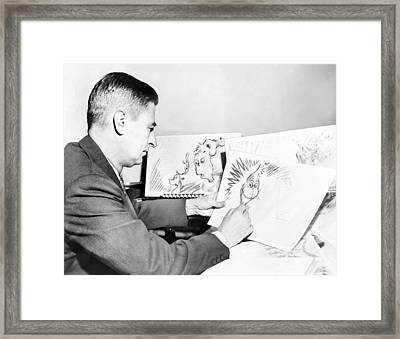 Ted Geisel Dr. Seuss 1904-1991 At Work Framed Print by Everett