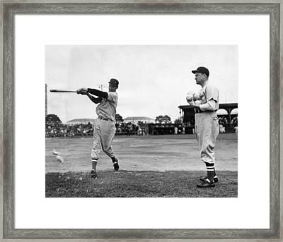 Ted Williams Gets Batting Practice Framed Print