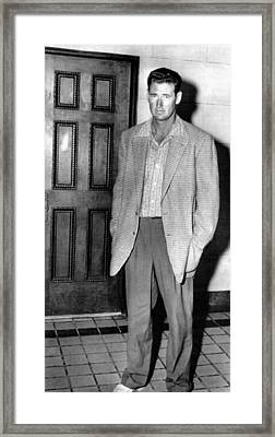 Ted Williams Outside A Miami Court Room Framed Print by Everett