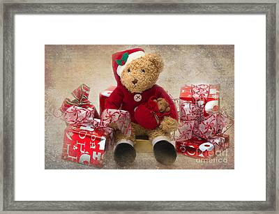 Teddy At Christmas Framed Print by Louise Heusinkveld