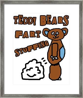 Teddy Bears Fart Stuffing 1 Framed Print by Jera Sky