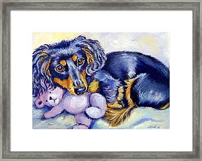 Teddy Cuddles - Dachshund Framed Print by Lyn Cook