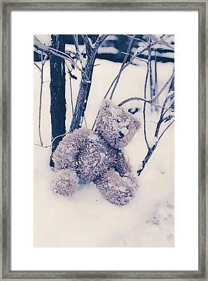 Teddy In Snow Framed Print by Joana Kruse
