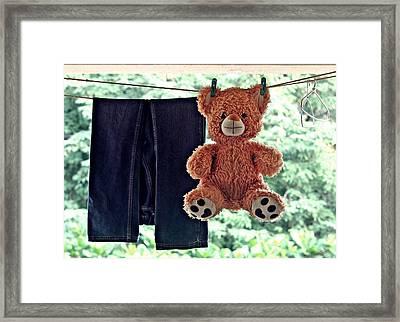 Teddy On Clothes Line Framed Print by Aparna Balasubramanian