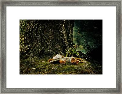 Teddy With A Saw Framed Print