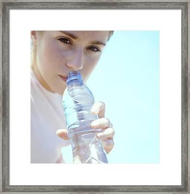 Teenage Girl Drinking Water Framed Print by Cristina Pedrazzini