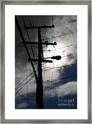 Telephone And Electric Wires And Pole In Abstract Silhouette . 7d13651 Framed Print