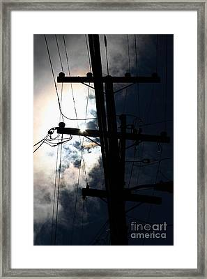 Telephone And Electric Wires And Pole In Silhouette . 7d13615 Framed Print by Wingsdomain Art and Photography