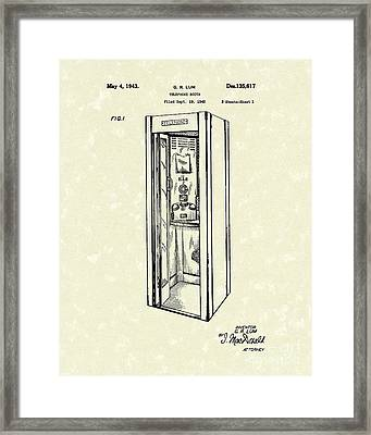 Telephone Booth 1943 Patent Art Framed Print by Prior Art Design