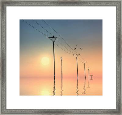 Telephone Post At Sunset Framed Print