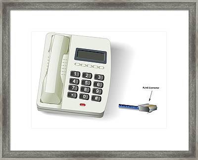 Framed Print featuring the digital art Telephone by Wayne Pascall