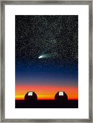 Telescope Domes On Mauna Kea With Hale-bo Framed Print by David Nunuk