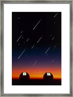 Telescope Domes On Mauna Kea With Meteors Framed Print by David Nunuk