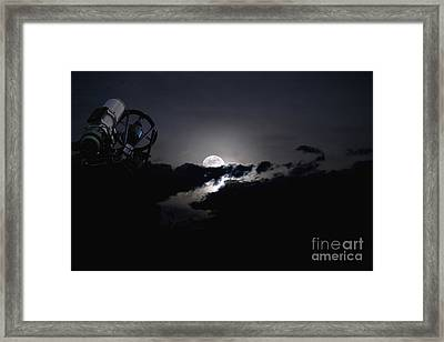 Telescope Pointed Out To The Night Sky Framed Print by Roth Ritter