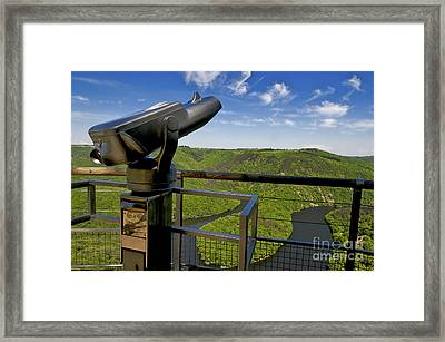 Telescope With View On Meander Of Queuille. Auvergne. France. Europe Framed Print by Bernard Jaubert