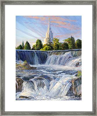 Temple And The Falls Framed Print