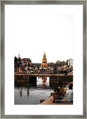 temple and the river in India Framed Print