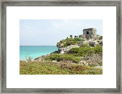 Framed Print featuring the photograph Temple Of The Wind God Tulum Mexico by John  Mitchell