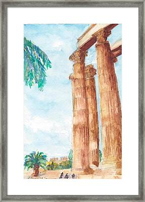 Temple Of Zeus In Athens Greece Framed Print by Katherine Shemeld
